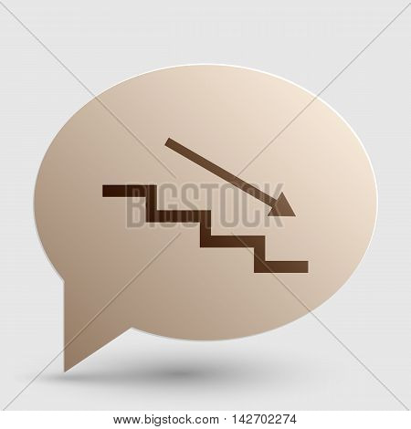 Stair down with arrow. Brown gradient icon on bubble with shadow.