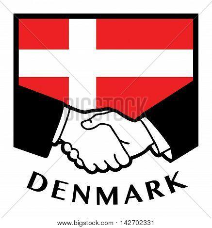 Denmark flag and business handshake, vector illustration