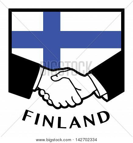 Finland flag and business handshake, vector illustration