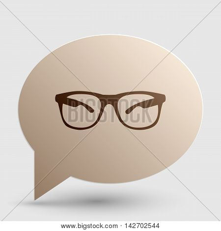 Sunglasses sign illustration. Brown gradient icon on bubble with shadow.