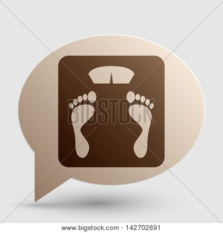 Bathroom scale sign. Brown gradient icon on bubble with shadow.