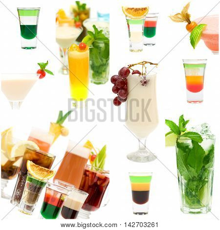 Fancy Cocktail Collage - Alcohol Background on white