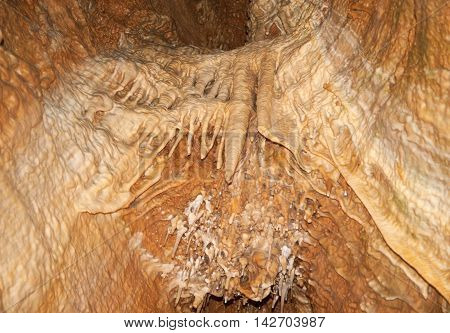 Limestone stalactites and stalagmites in Koneprusy caves Czech republic