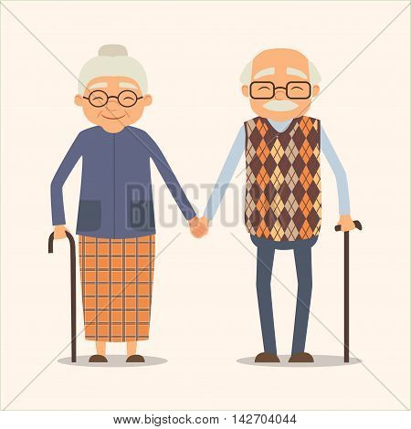 grandparents vector image of happy couple in cartoon style. Vector illustration