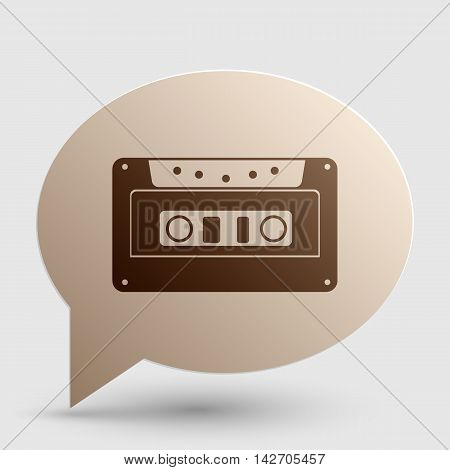 Cassette icon, audio tape sign. Brown gradient icon on bubble with shadow.