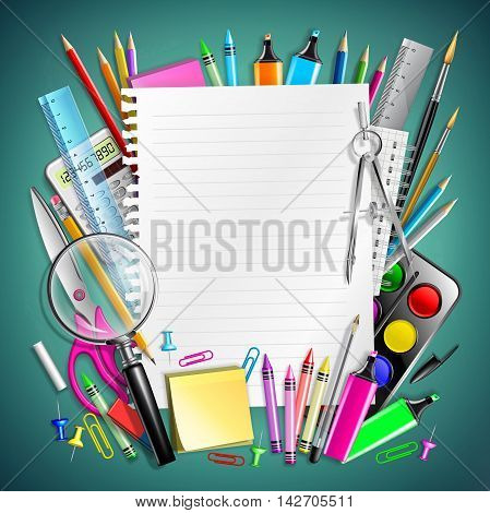 Sheet Notepad And Frame With School Supplies