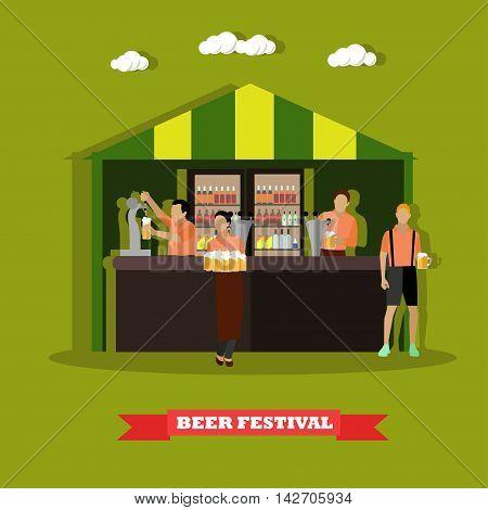 Beer festival concept vector illustration. People drink beer in outdoor restaurant. Waitress and bartender.