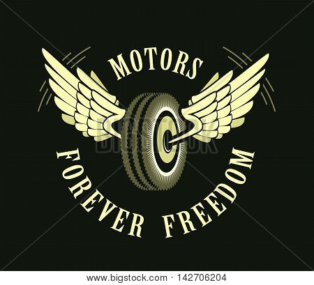 vector retro emblem on motorcycle tire with wings on a black background