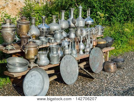 A lot of old vintage metallic arabian and russian vessels tray pods and samovar.