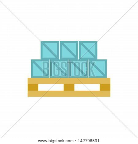 Boxes goods icon in flat style isolated on white background. Warehousing symbol