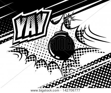 YAY comic sound. Bubbles and explosions in pop art style. Elements of design. Vector illustration