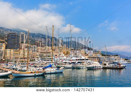 Monaco Monaco - July 30 2016: boats in the port of Monaco. Monaco is the 2nd smallest and the most densely populated country in the world popular by the rich because of the tax policy