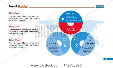 Three stages infographic circle diagram. Element of presentation, brochure, chart. Concept for templates, infographic, report. Can be used for topics like marketing research, business strategy