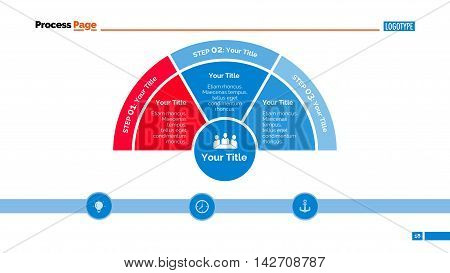 Three zones diagram. Element of presentation, segmented diagram, step chart. Concept for business infographics, templates, reports. Can be used for topics like strategy, analysis, planning