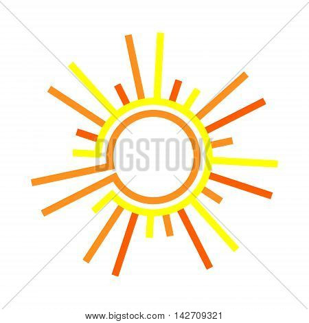 Flat the sun. Sun symbol. Vector flat sun icon. Sun isolated on white background.