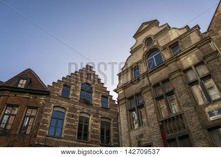 A typical Flemish building facade in Brussels, Belgium