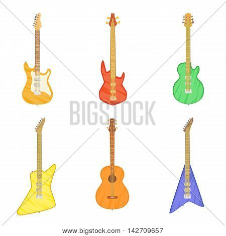 Cartoon set of different electric and acoustic guitars isolated on white background. Vector illustration