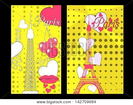Paris poster with heart. Romantic collage from the Eiffel Tower a cherry and a kiss. France. Vector illustration.