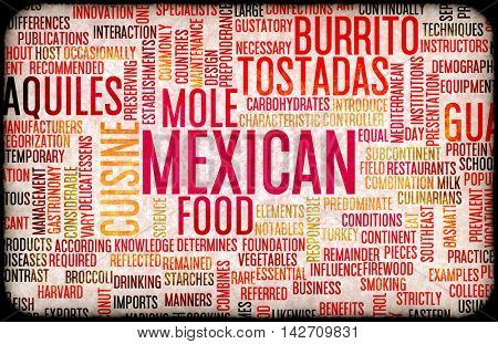 Mexican Food and Cuisine Menu Background with Local Dishes