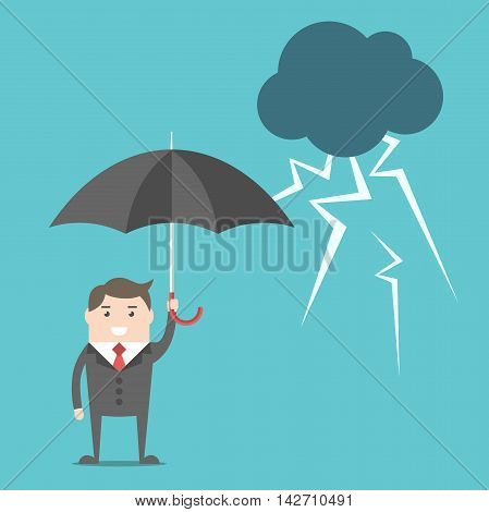 Businessman, Umbrella And Thunderstorm