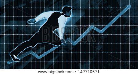 Senior Businessman Charging Ahead on Blue Background Art 3d Illustration Render