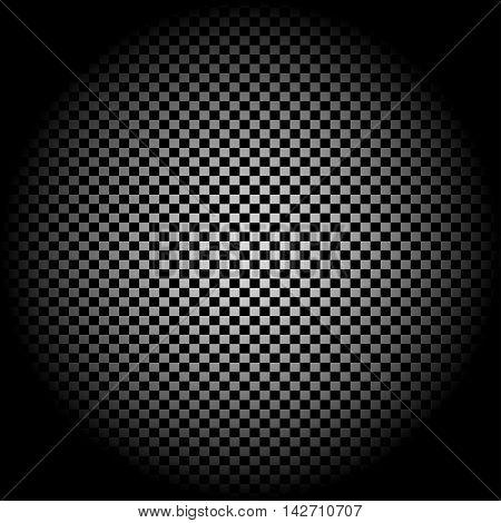 Radial gradient light. Checkered background. Vector illustration