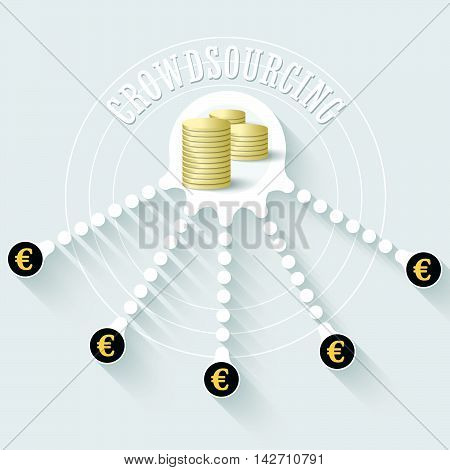 Vector coin object with theme of crowd sourcing