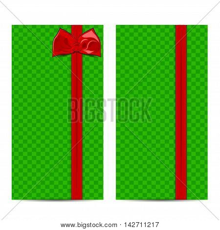Beautiful card with checkered green background and cute red ribbon. Red bow. Illustration for cards.