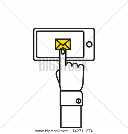 Hand holding smart phone in hand with email social network. Message send on mobile phone. Email marketing. Flat style vector illustration