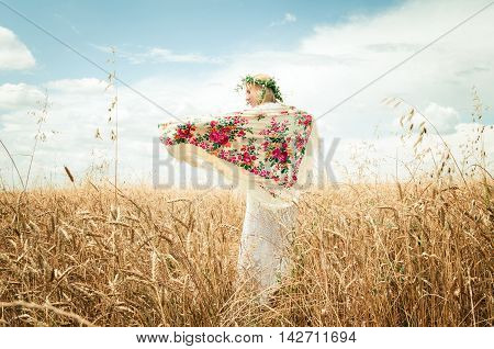 woman in the wheat field in summer