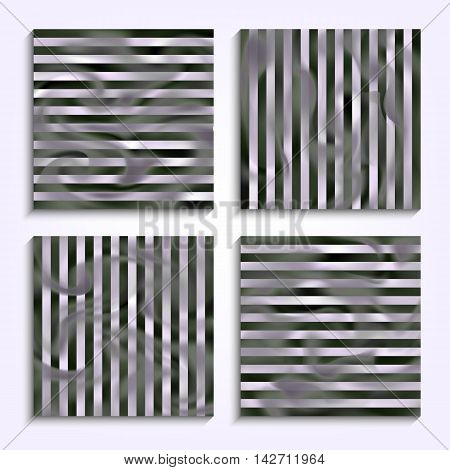 Set striped banners with smoke. Patterns with the effect of steam or gas for creative design. Collection