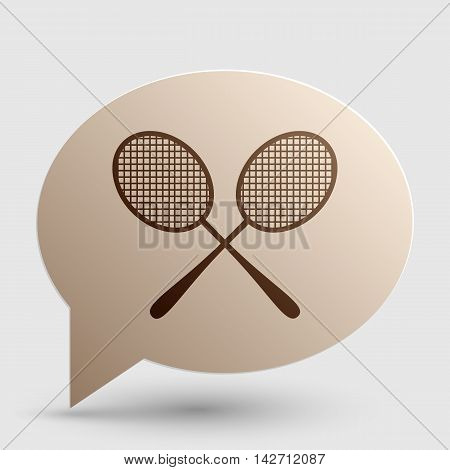 Tennis racquets sign. Brown gradient icon on bubble with shadow.