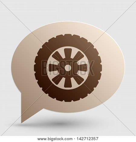 Road tire sign. Brown gradient icon on bubble with shadow.