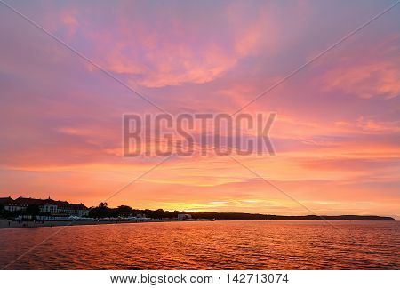 Embankment of sunset in the Baltic sea in Sopot near Gdansk Poland.