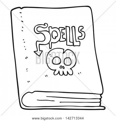 freehand drawn black and white cartoon spell book