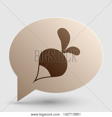 Radish simple sign. Brown gradient icon on bubble with shadow.