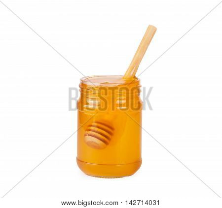 Jar Of Honey And  Honey Dipper