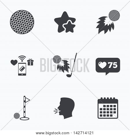 Golf ball icons. Fireball with club sign. Luxury sport symbol. Flat talking head, calendar icons. Stars, like counter icons. Vector