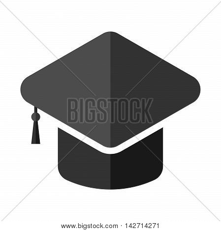 Black square academic cap with tassel isolated on white. Graduation education and knowledge concept. Flat design. Vector illustration. EPS 8 no transparency