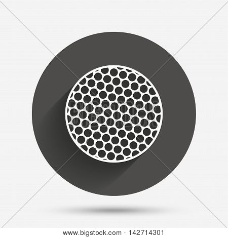 Golf ball sign icon. Sport symbol. Circle flat button with shadow. Vector