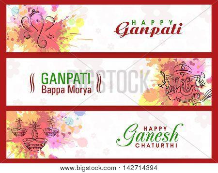 Set of Website Header or Banner with Lord Ganesha for Ganesh Chaturthi Celebration.
