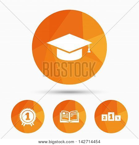 Graduation icons. Graduation student cap sign. Education book symbol. First place award. Winners podium. Triangular low poly buttons with shadow. Vector
