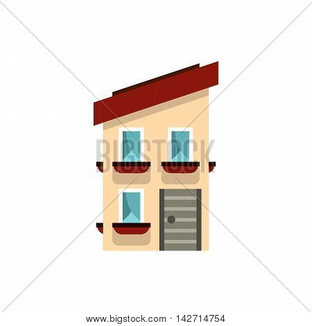 Two storey house with a sloping roof icon in flat style on a white background