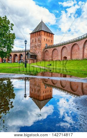 VELIKY NOVGOROD RUSSIA - AUGUST 12 2016. Palace tower of Novgorod Kremlin in cloudy day - architecture landscape in Veliky Novgorod Russia