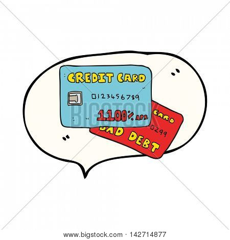 freehand drawn speech bubble cartoon credit cards