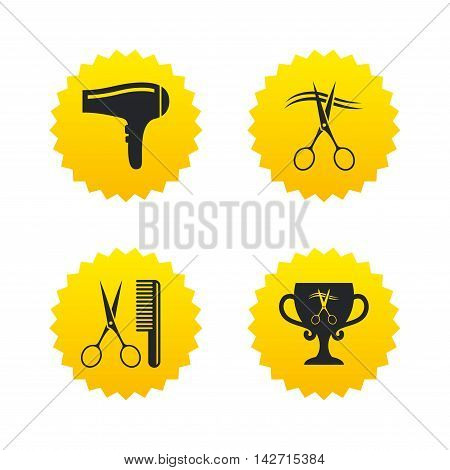 Hairdresser icons. Scissors cut hair symbol. Comb hair with hairdryer symbol. Barbershop winner award cup. Yellow stars labels with flat icons. Vector