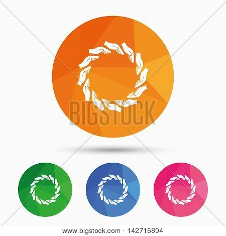Donation hands circle sign icon. Charity or endowment symbol. Human helping hand palm. Triangular low poly button with flat icon. Vector