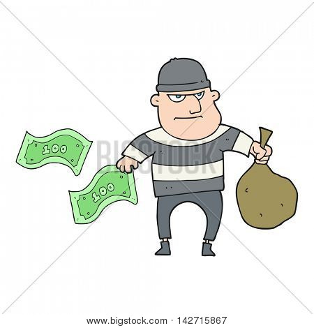 freehand drawn cartoon bank robber