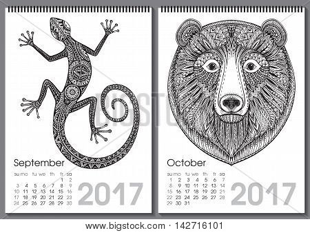 Calendar 2017. Beautiful ornate hand drawn animals for every month. Vector illustration. Two months lists september, october with lizard, bear.