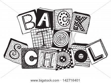 Hand drawn phrase back to school in doodle fancy style. Fancy letters on blocks with different textures. Black and white vector illustration